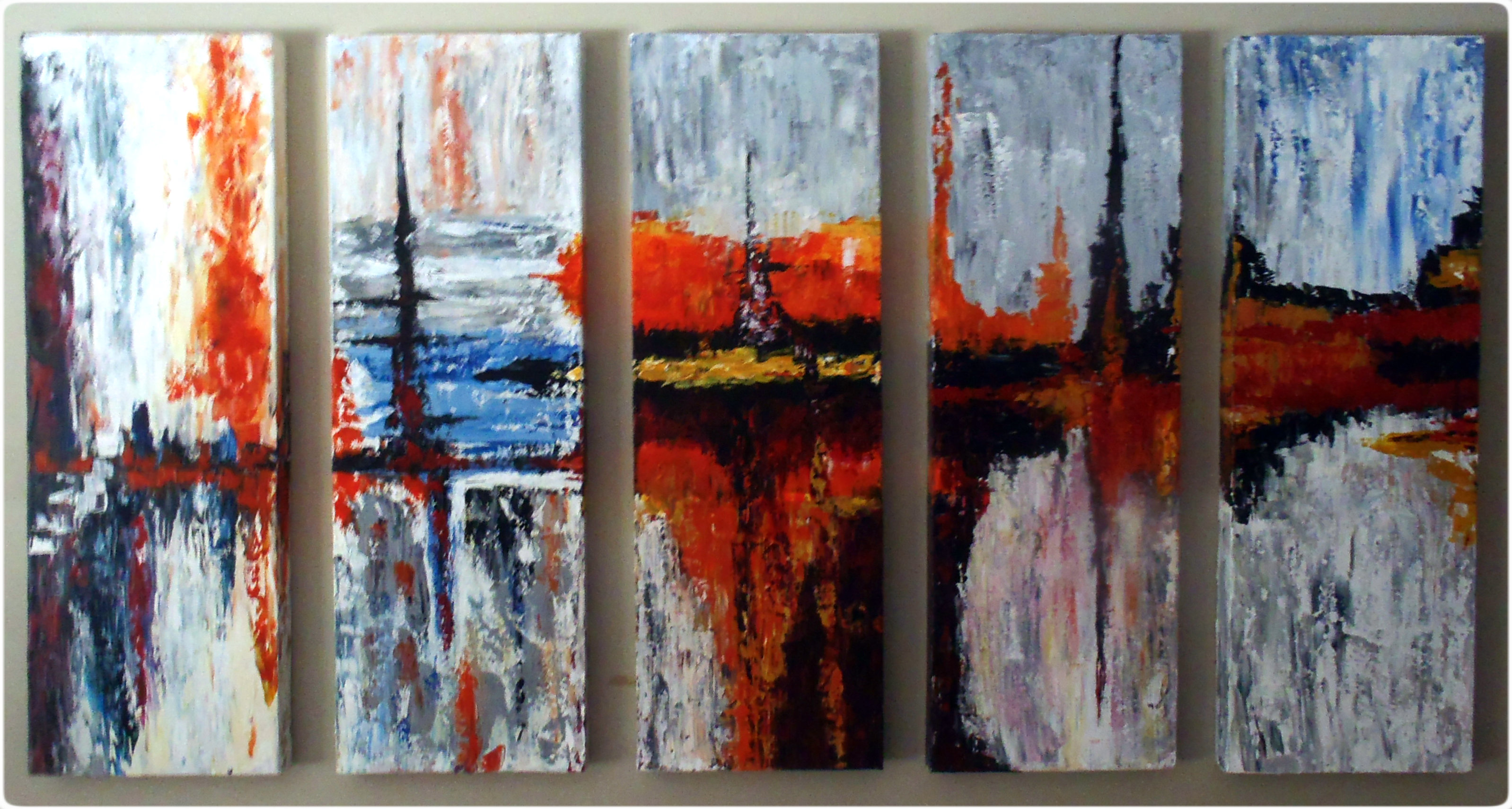 "The finished product on five 10x30"" canvases"