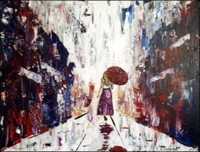 "Girl with the Red Umbrella - 12x16"" Acrylic on Canvas"