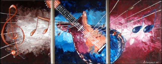 "48x20"" - Electric Guitar - Acrylic on Canvas"